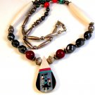 Southwest Sterling Silver Turquoise Hematite Inlaid Necklace