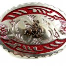 Made in USA Silver Tone Red Cowboy On Horse Belt Buckle #101813