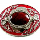 Western Rodeo Red & Red Stone Belt Buckle Not Marked 092314