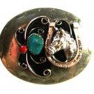 Vintage Silvertone Turquoise Coral Horse Shoe Belt Buckle Unbranded 62915