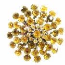 True Vintage Silvertone Amber & Clear Rhinestones Brooch By CORO 102014