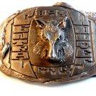Vintage Bay City Central Wolves Belt Buckle by Spec - Cast Rockford Illinois
