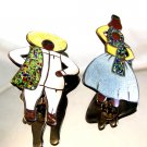 Mexican Sterling Silver Enameled Man & Woman Brooch by Margot  De Taxco