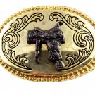 Western Cowboy Rodeo Gold Tone Horse Saddle Belt Buckle #101813