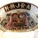 1968 NMJRA Queen Crown Cowgirl Rodeo Comstock Silver Belt Buckle In Box
