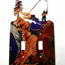 Cowboy ? Fishing Double Light Switch Cover Plate by LaZart 030315R