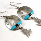 Southwest Sterling Silver Wolf Howling Turquoise Dangley Pieced Earrings