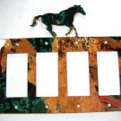 Wild Horse Quadruple Rocker Outlet Cover Plate by Steel Images USA 6815