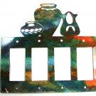 Pueblo Pottery Quadruple Rocker Outlet Cover Plate by Steel Images USA 051315