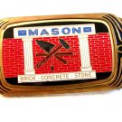 1983 Masons Brick Concrete Stone Solid Brass Belt Buckle
