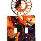 Sun With Face Double Light Switch Cover Plate by LaZart USA 6215q