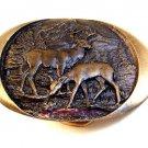 Vintage 1982 Indiana Metal Craft Deer Buck & Doe Belt Buckle