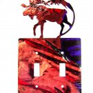 Moose & Mountain Double Light Switch Cover Plate Steel Images USA 6215Z