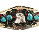 Southwest Handcrafted American Eagle Coral Turquoise Belt Buckle USA