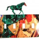 Wild Horse Quadruple Light Switch Cover Plate by Steel Images USA 6815ee