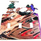 Cowboy Rodeo Calf Roping Triple Light Cover Plate Steel Images USA 3315 KA 3315