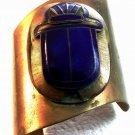 Huge 1880 - 1930 Egyptian Revival Brass & Blue Enamel Scarab Cuff Bracelet