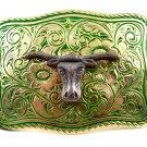 Made in USA Western Silvertone Green Bull Head Belt Buckle #102113