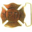 FD Fire Department Solid Brass Belt Buckle 82814