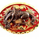 Western Goldtone Red Bowing Broncho / Horse Belt Buckle #102113e