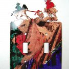 Rodeo Calf Roping Cowboys Double Light Switch Cover Plate by Steel Images USA
