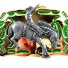 Made in USA Western Goldtone Green Cowboy on Broncho Belt Buckle #102113j