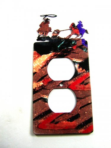 Cowboys Rodeo Calf Roping Double Outlet Cover Plate by Steel Images 51315