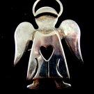 Silvertone Angel Heart Brooch / Pendant by Best 8614