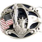 Statue of Liberty Flag Eagle Enameled Belt Buckle 62514 by Buckles of America