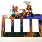 Rodeo Cowboy Bull Ropiing Quadruple Rocker Outlet Cover Plate Steel Images USA G