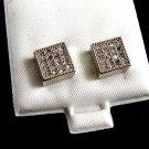 Silvertone CZs Pierced Studs Earrings 12092013ty