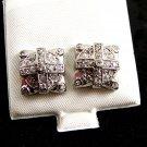 Clear CZs w Cross Pierced Studs Earrings 12092013jj