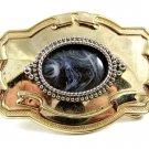 Western Cowboy Silvertone Opalescent / Agate Style ???? Belt Buckle 10272013cd