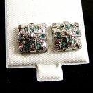 Green & Clear CZs Pierced Studs Earrings 12092013ll