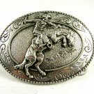 """Western Cowboy """"The Broncho Buster"""" by Frederic Remington Belt Buckle 82014"""