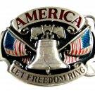 1986 America Let Freedom Ring Enameled Belt Buckle Siskiyou 62614
