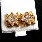 Goldtone CZs Pierced Studs Earrings 12092013xx