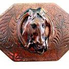 Early Western Cowboy Horse Head In Horse Shoe Solid Brass Belt Buckle