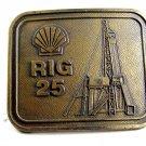True Vinage Shell Oil Rig 25 Belt Buckle By RJ 102314