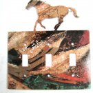 Wild Running Horse Triple Light Switch Plate by Steel Images Made In USA 6815