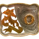 Large Western Cowboy Initial Letter O Belt Buckle