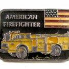 American Firefighter Truck Flag Enameled Belt Buckle 51514 Made In USA