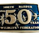 1985 North Dakota Wildlife Federation 50 Years PROOF Belt Buckle 102314