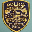 Stillwater Oklahoma Police 1st settlement unassigned lands shoulder patch