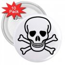 "Jolly Roger 3"" Button (10 pack), punk, goth, rock"
