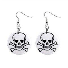 """Jolly Roger 1"""" Button Earrings, punk, rock, goth, rockabilly"""