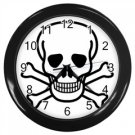 Jolly Roger Wall Clock (Black), punk, goth, rock