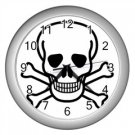 Jolly Roger Wall Clock (Silver), punk, goth, rock