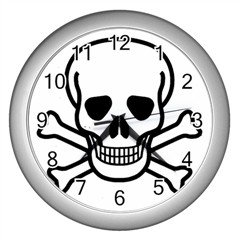 Jolly Roger Wall Clock (Silver), punk, goth, rock