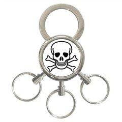 Jolly Roger 3-Ring Key Chain, punk, goth, rock
